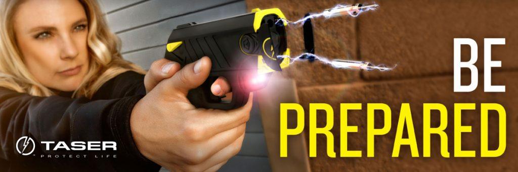 Taser Banner - Woman shooting, Be Prepared