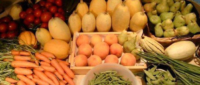 Home Grown Vegetables displayed on table