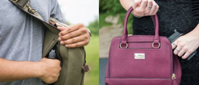 Cameleon Concealed Carry Bags - Man & Woman each pulling gun from their CCW bag
